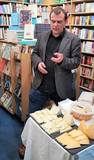 Ned Palmer with Cheese samples